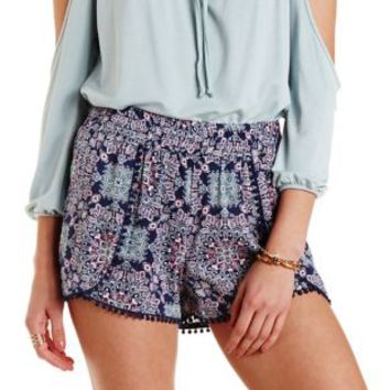 Navy Combo High-Waisted Tile Print Tulip Shorts by Charlotte Russe