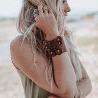Butterfly Leather Bohemian Cuff - Brown
