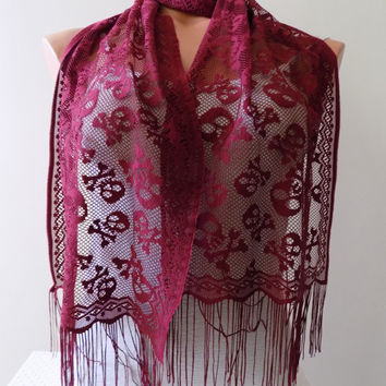 Burgundy Skull scarf,Skull tulle scarf,Day of the Dead Scarf, Halloween, Tulle Cowl Wrap, Women Fashion Accessories, Lightweight Scarf
