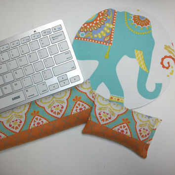 Elephant Mouse pad set - mouse wrist rest - keyboard rest - coworker gift, teacher gift, under 50, office accessories, desk, cubical decor