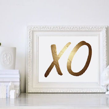 XO Gold Foil Poster, Gold Bedroom Prints, Gold Print, Gold Decor, Gold Wall Art, Gallery Wall, XO Wall Print, XOXO Print, Hugs And Kisses