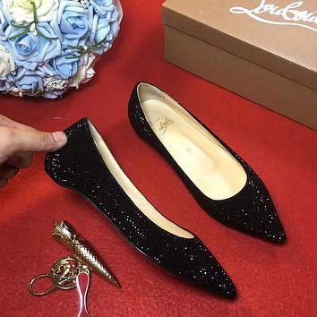 Sale Christian Louboutin CL Strass Flat - Black
