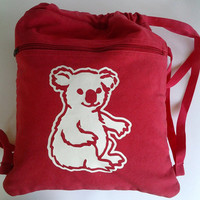 Teddy Bear Backpack Canvas Book Bag Red Bear Backpack with Drawstring