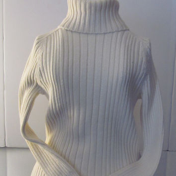 AE Chunky Cable Knit Sweater American Eagle Outfitters women sz S Cotton Knit Turtle Neck Sweater