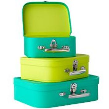 Kids Storage: Green and Lime Storage Suitcases in Tabletop Storage | The Land of Nod