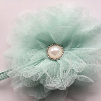 Mint Green Newborn Headband - Large Tulle Flower Headband - Mint Green Flower Head Band for Infant - Boutique Baby Headband Photo Prop