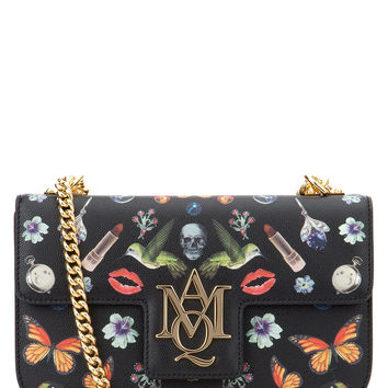 ALEXANDER MCQUEEN Medium Obsession Print Insignia Chain' Calfskin Leather Satchel