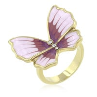Butterfly 3-stone Ring, size : 10