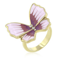 Butterfly 3-stone Ring, size : 09