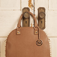 Studded Bowling Handbag - Tan