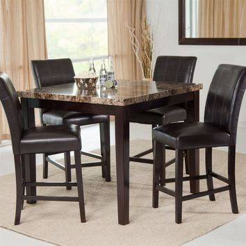 Counter Height 5-Piece Dining Set with Faux Marble Top Table