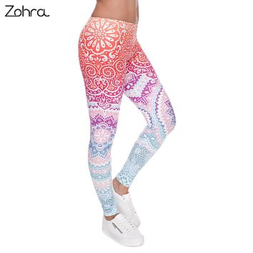 Women Aztec Round Ombre Printing High Waist Leggings  FREE SHIPPING