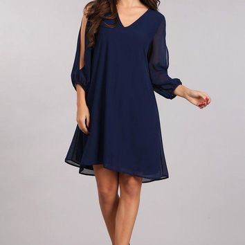 Short Cocktail Party Long Sleeve Dress