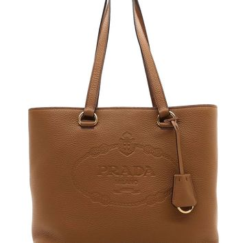 Prada Women's Brown Vitello Daino Prada Leather Shopping Tote 1BG100