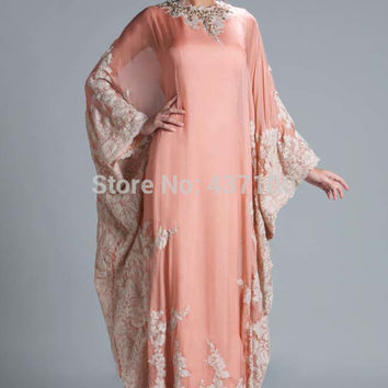 2017 Cheap Muslim Evening Dresses A-line Long Sleeves Peach Appliques Abaya In Dubai Kaftan Islamic Prom Dresses Evening Gown