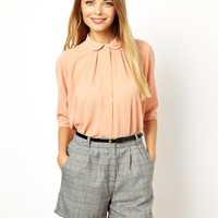 ASOS | ASOS Blouse with Pleat Back and Raw Edge Detail at ASOS