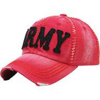 RED stylish  ARMY DISTRESSED AND FADED  Baseball HAT /CAP