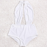 2017  Summer Style Monokini Beach Bathing Suit Sexy Halter White One Pieces Swimwear Women Backless Beachwear Swimsuit Bodysuit