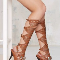 Jeffrey Campbell Bellona Leather Knee-High Sandal