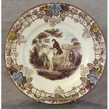 Fox Hunt Hunting Rider Over The Wall Medium Brass Wall Hanging Plate