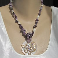 Amethyst Pearl Necklace Bracelet Set Carved Abstract Shell Pendant Gemstone Jewelry