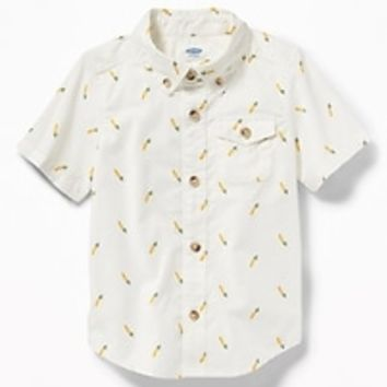 Built-In Flex Carrot-Print Shirt for Toddler Boys|old-navy