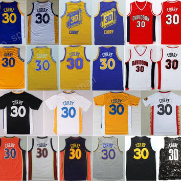 Cheap 30 Stephen Curry Basketball Jerseys Men Davidson Wildcats College Stephen Curry Jersey Throwback Stitched Blue White Red Black Yellow