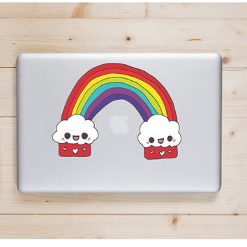"Cupcake Kawaii Rainbow Die Cut Sticker // Cute Japanese // Computer & Tablet XL Size // 8"" // Perfect For Indoor, Outdoor, Laptop, Car"