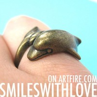 SALE - Dolphin Sea Animal Wrap Ring in Bronze Sizes 6 to 8.5 available