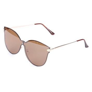 Brown Rimless Cateye Unilens Fashion Sunglass