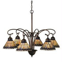 31 Inch W Tiffany Jeweled Peacock 6 Lt Chandelier Ceiling Fixture