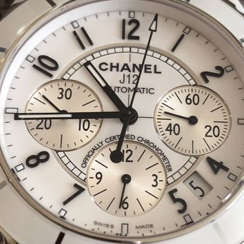Chanel Chronograph White Ceramic Automatic UnisexAdjustable Watch J12 41mm H1007