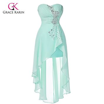 High Low Prom Dresses Grace Karin Elegant Cheap Pale Turquoise 2017 Short Front Long Back Chiffon Evening Dress For Graduation