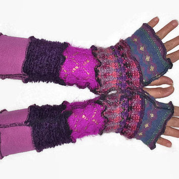 Upcycled fingerless gloves Purple Pink Blue arm warmers recycled wristwarmers stripe knit fingerless mittens Armwarmers Gift for Her fashion
