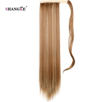 """SHANGKE 24"""" Long Straight Ponytail  False Hair Extension Drawstring Heat Resistant Synthetic Hairpiece Pony Tail"""