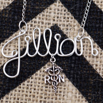 Medical, RN, nurse name necklace