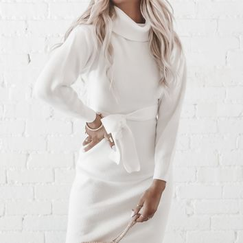 Easy A White Turtleneck Sweater Midi Dress