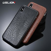 USLION For iPhone 5 5s SE 6 6s 7 8 Plus X Case Crocodile Texture Phone Cases PU Leather Back Cover Coque For iPhone XS XR XS Max