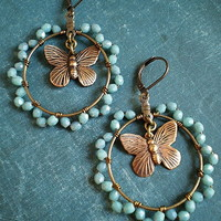 Butterfly Hoops In Turquoise on Luulla