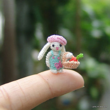 miniature crochet 0.6 inch micro stuffed bunny - art dollhouse amigurumi animal