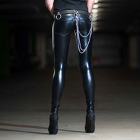 Jeans Back Leather Look Leggings, Shiny Black Spandex Pants, For Men and Wimen, by LENA QUIST