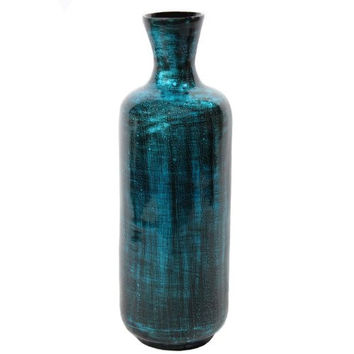 Essential Décor Entrada Collection Lacquer Bamboo Vase with Bubbles Accent, 21.25 by 7.08-Inch, Teal