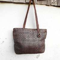 Vintage Chocolate Brown Woven Leather Tote // Handmade // Medium // Made in Indonesia
