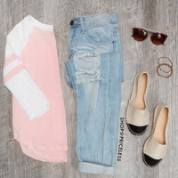 Alexa Baseball Top - Blush