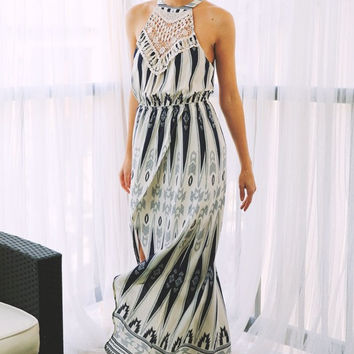 Applique Crested Geometric Maxi Dress