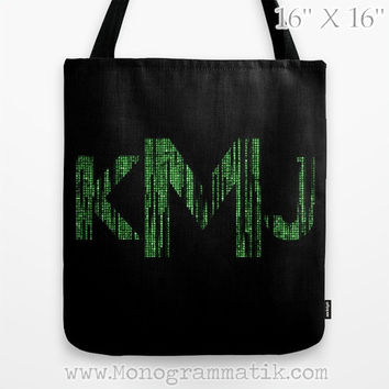 "The Matrix Monogram Personalized  ""Neo"" Custom Toate Bag 16x16 Carryall Grocery Art Supplies Initial Name Letter Code Black Green Neon Geek"