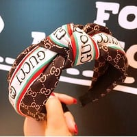 GUCCI Women Fashion New More Letter Tie A Knot Headband Hair Clasp Accessories Coffee