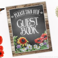 "Country Wildflowers Wedding Sign - Please Sign Our Guest Book - 8"" x 10""  Poppies and Daisies - Choose Your Border 