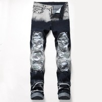 Stretch Ripped Holes Decoration Jeans [3444984283229]