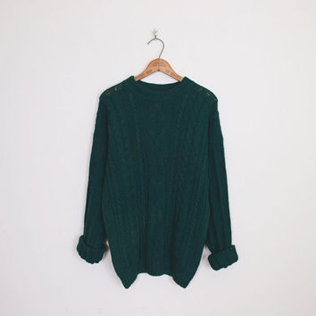 Irish Fisherman Sweater Cable Knit Sweater 80s Oversize Sweater Oversize Jumper Boyfriend Sweater Forest Green Sweater 80s Sweater S M L XL
